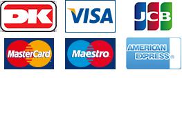 Her kan du betale med Dankort, Visa, Mastercard, Maestro, American Express og Mobile Pay